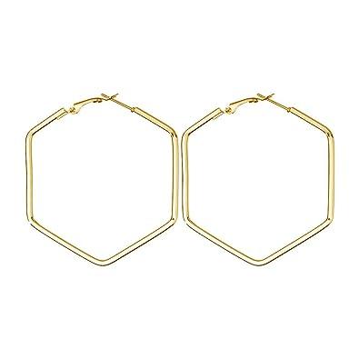 074366275b6a2 Amazon.com: MYANAIL Hexagon Hoop Earrings for Women Simple Geometric ...