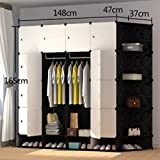 Yigui Portable Clothes Closet Wardrobe Bedroom Armoire Dresser Cube Storage Organizer,Space Saving,Ideal Storage Organizer Cube For Books, Toys, Towels,16 Cubes& 2 Hanging Sections+Shoebox