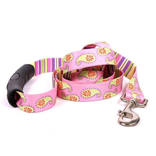 Yellow Dog Design Pink Paisley EZ-Grip Dog Leash with Comfort Handle, Small/Medium-3/4 Wide 5' (60