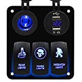 3 Gang Blue Rocker Switch Panel with Dual USB and Power Charger Socket for Marine Boat Car RV