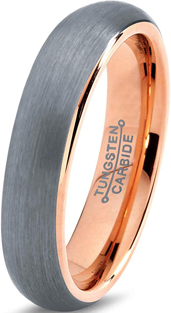 Charming Jewelers  18K Rose Gold Plated Domed Brushed Tungsten Wedding Band Ring, 5mm