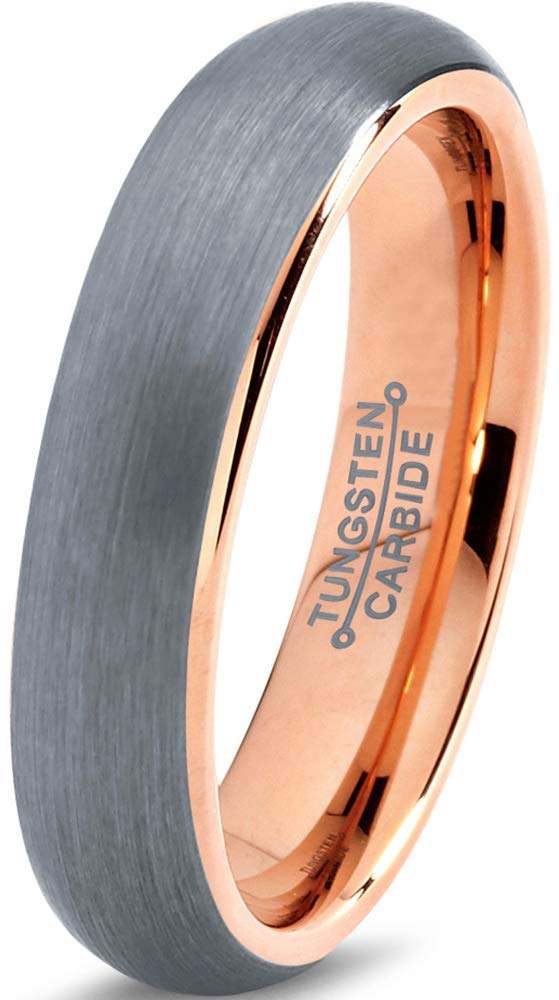 Charming Jewelers Tungsten Wedding Band Ring 5mm Men Women Comfort Fit 18k Rose Gold Plated Grey Dome Brushed Size 10
