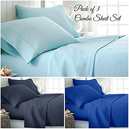 Amazoncom Hotel Luxury Microfiber Solid 4pc Sheet Set Alaska King