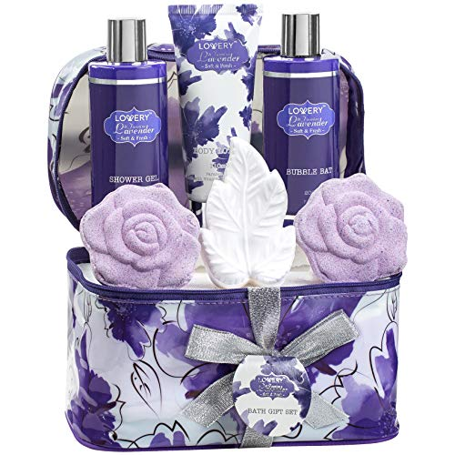 Bath Soap Gift Set - Bath and Body Gift Set For Women and Men - Lavender and Jasmine Home Spa Set With Rose Soaps, Double Sized Bath Bombs, Reusable Travel Cosmetics Bag and More