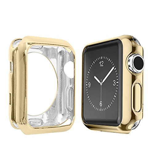 Alritz for Apple Watch Case 42mm, Soft Slim TPU Protective Case Anti-Scratch Bumper Cover for Apple Watch Series 1/2/3/Nike+/Sport/Edition, Gold