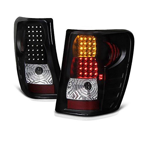 VIPMOTOZ Black Housing LED Tail Light Lamp Assembly For 1999-2004 Jeep Grand Cherokee, Driver & Passenger Side