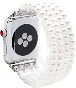 KAI Top Compatible for Apple Watch Band 38mm 40mm 42mm 44mm,Artificial Pearls Beaded Stretch Bracelet Watch Strap Bands for Women Compatible with Apple iWatch Series 5 4 3 2 1