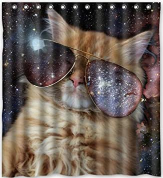 Stylish Living Elegant Space Cat Bathroom Shower Curtain 60quot X 72quot For
