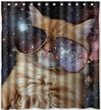 Stylish Living Elegant Space Cat Bathroom Shower Curtain 60quot X 72quot For