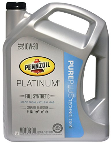Pennzoil 550038321 Platinum SAE 10W-30 Full Synthetic Motor Oil API GF-5 - 5 Quart Jug - Pennzoil Synthetic Blend