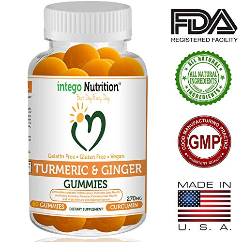 NEW Turmeric & Ginger Gummies | Intego Nutrition |100% Vegan Gluten Free Natural Dietary Supplement [60 Count] | Non GMO Anti Aging Anti Inflammatory Antioxidant, Powerful Pain Relief, Tropical Flavor