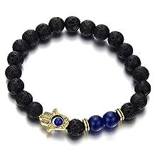 Hamsa Hand of Fatima Mens Womens Black Beads Bracelet Volcanic Lava Rock Stone, Protection Prayer