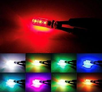 2 x RGB T10 W 5 W 12 V coche lámpara interior iluminación ambiente Luz 5050 Bombillas con 6 x smd inalámbrica + Mando a distancia - -INION®: Amazon.es: ...