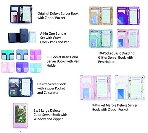 Deluxe Server Book Organizer for Restaurant Waiter Waitress Waitstaff   Comfortably Fits in Apron   9 Pockets includes Zipper Pouch with Pen Holder   Holds Guest Checks, Money, Order Pad by Sonic Server (Image #6)