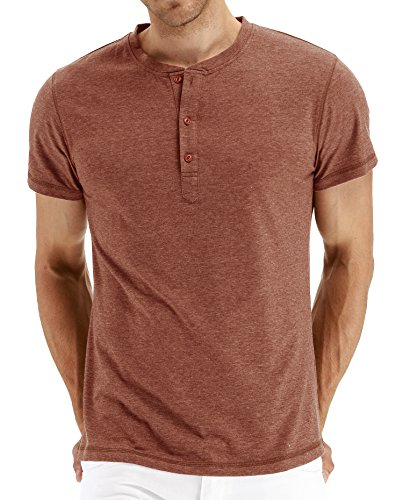 (Mr.Zhang Men's Casual Slim Fit Short Sleeve Henley T-Shirts Cotton Shirts VG-Orange-US XL )
