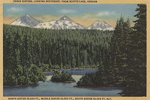 Sister Signed - Scotts Lake, Oregon - View of Three Sisters Mountains - Vintage Halftone (12x18 SIGNED Print Master Art Print w/ Certificate of Authenticity - Wall Decor Travel Poster)