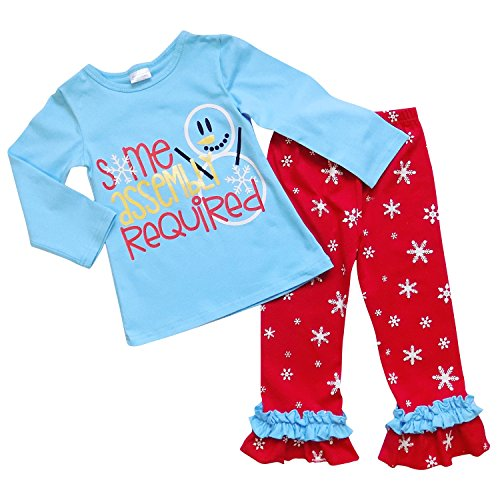 So Sydney Toddler Girls 2 Pc Christmas Snowman Print Ruffle Pants Holiday Outfit (S (3T), Blue & Red Assembly (New Girls Christmas Holiday Snowman)
