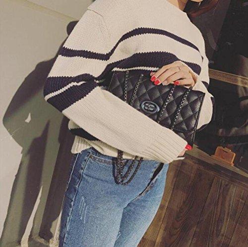 Trend Bag Black Simple Chain Atmosphere Messenger Lingge Female Bag Bag Joker Mini Bag zHqYArf7zw