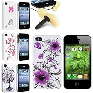 Cerhinu Everydaysource compatible with Apple? iPhone? 4 / 4S, Purple Flower , White / Bird Cage , White / Peach Blossom...