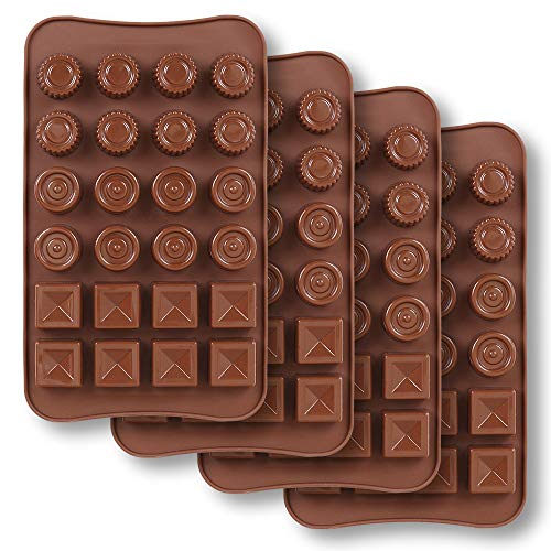 4 Mold Cavities Candy - homEdge 24-Cavity Chocolate Mold, 4 Packs Non Stick Food Grade Silicone Chocolate Candy Jelly Mold - 3 Styles