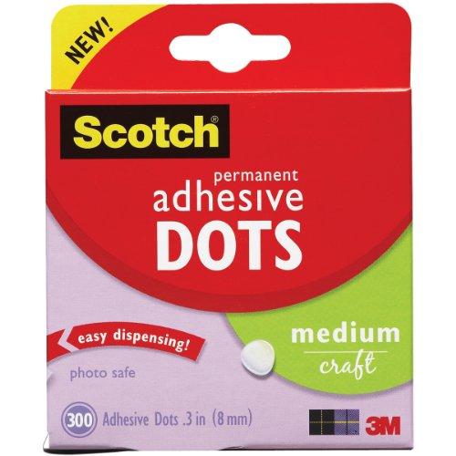 Scotch Brand 599039153097 Scotch 010-300M 300-Pack Adhesive Dots, Medium, 300 Count, Clear