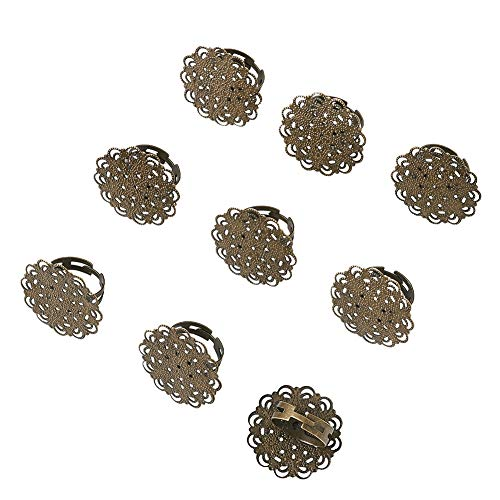 (Beadthoven 10-Piece Filigree Flower Pad Ring Bases Adjustable Brass Filigree Ring Setting Components Nickel Free Antique Bronze Tray: 30mm)