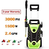 Ruyiot Pressure Washer 3000PSI 1800W Powerful Cleaner Machine for Car/Vehicle/Patio/Driveway/Floor/Wall/Furniture /5 Nozzles