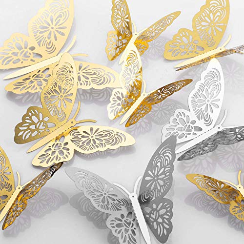 MWOOT 48 piezas mariposas decorativas 3d, mariposas pegatinas de pared decorativas para la decoración de la fiesta de…