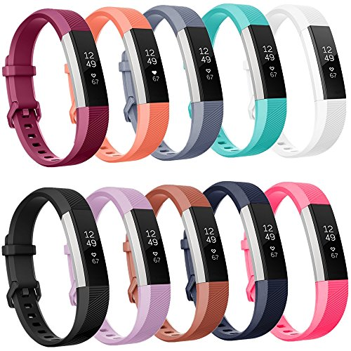 Greatfine Adjustable Strap Bands For Fitbit Alta HR and Alta , Silicone Accessory Replacement Watch Band Pack of 10 Large