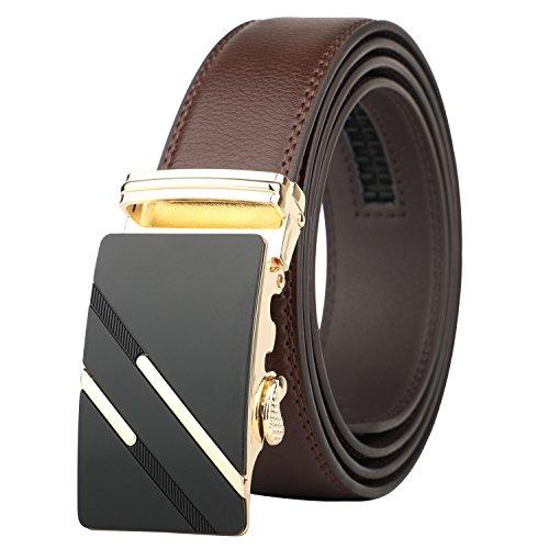 Lavemi Men's Real Leather Ratchet Dress Belt with Automatic Buckle,Elegant Gift Box(1245) (Business Belt)