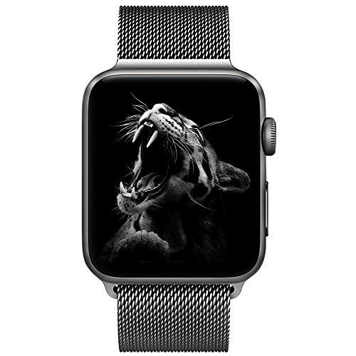 BRG コンパチブル apple watch バンド,ミラネーゼループ コンパチブルアップルウォッチバンド ステンレス留め金製 アップルウォッチ4 コンパチブル apple watch series5/4/3/2/1に対応(38mm/40mm,スペースグレー)