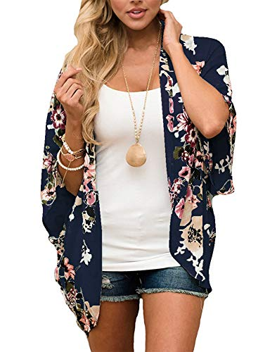 Lightweight Chiffon Cardigan Printed Short Sleeve Relaxed Kimono Tops Beach Bikini Cover up Blouse Size L (Printed Chiffon)