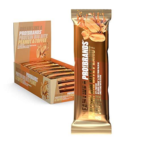 Probrands – Proteïnereep met Hoog Proteïnegehalte (37%) Smaak van Pindakaas en Karamel, met Chocolade, Zonder…