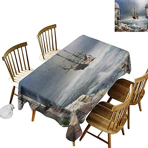 DONEECKL Sailboat Leakproof Tablecloth Suitable for Buffet Table A Pirate Merchant Ship Anchored in The Bay of Fort Abandoned Rocks at Shore Pale Muave Beige W60 xL120