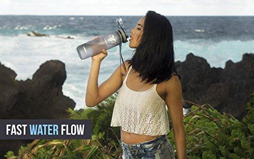 Best Sports Water Bottle – 32oz Large – Fast Flow, Flip Top Leak Proof Lid w/ One Click Open – Non-Toxic BPA Free & Eco-Friendly Tritan Co-Polyester Plastic (GRAY)