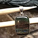 AAA Natural basaltic matrix black opal 925 Solid Sterling Silver Pendant 30mm
