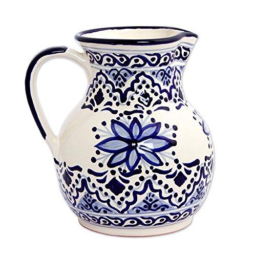 NOVICA Blue and Ivory Floral Ceramic Pitcher, 135 oz, Village (Novica Ceramic Pitcher)