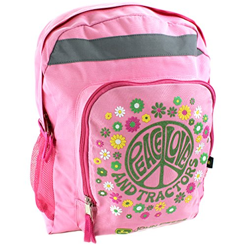 John Deere Peace Youth 16 inch Pink Backpack (Girls/Kids/Teen) (Water Bottle John Deere Kids)