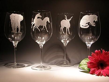 Amazon Com African Wildlife Crystal Wine Glasses Wine Glasses