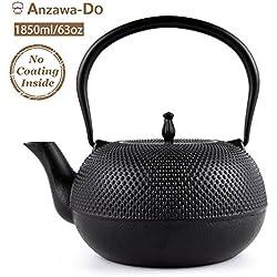 Suteas Cast Iron Teapot Japanese Tetsubin Tea Kettle with Stainless Steel Infuser Tokyo Teapot 65oz 1.85 Liter