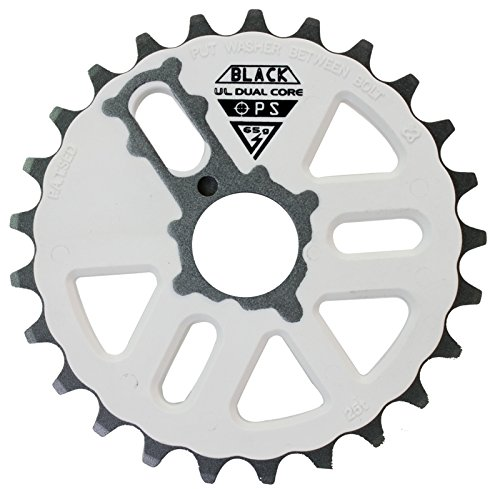 Black Ops Micro Drive Dual Core UL BMX Chainring, 25t, White/Gray