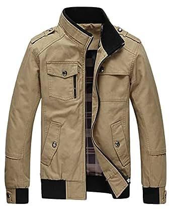 Amazon.com: Wantdo Men's Cotton Stand Collar Windbreaker