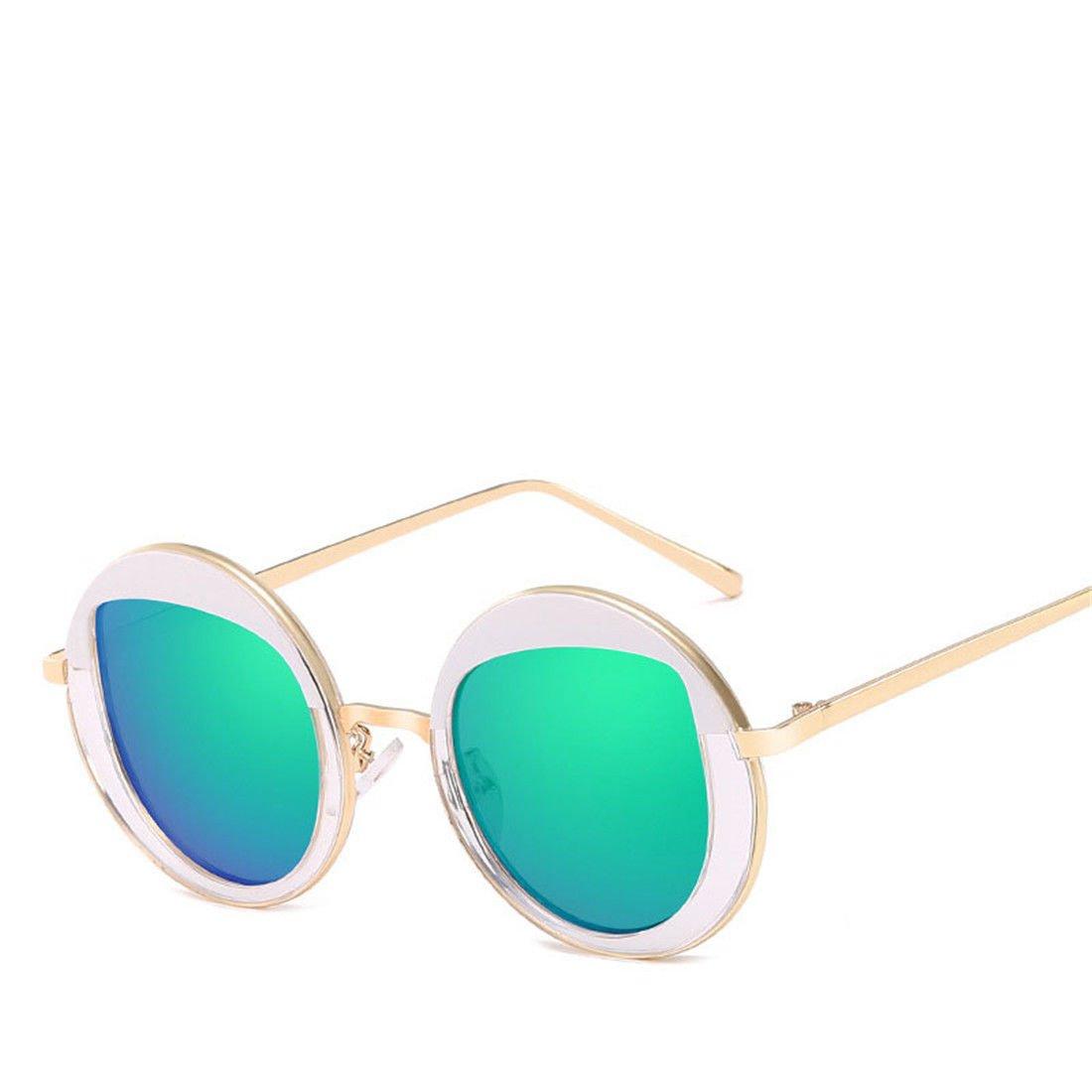 HONG@Occhiali da sole di moda metallo stile cornice rotonda occhiali da sole, D. HONG-Sun Mirror