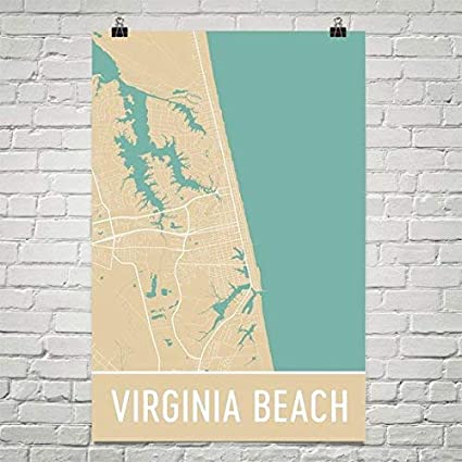 Amazon Com Modern Map Art Virginia Beach Poster Virginia Beach Art