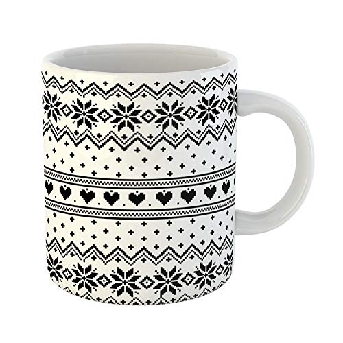 Emvency Coffee Tea Mug Gift 11 Ounces Funny Ceramic Fair Patterns Winter Nordic Isle Snowflake Gifts For Family Friends Coworkers Boss - Snowflake Pattern Fair Isle