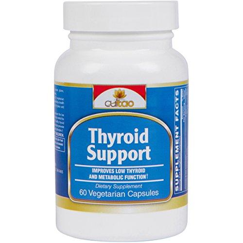 Premium Thyroid Support Supplements w/L-Tyrosine, Iodine (From Kelp), Green Tea Leaf Extract, Guggulipid, Bacopa monniera, Selenium And Vitamin A, B6, C & D - 60 Vcaps - Vegetarian Formula by CulTao