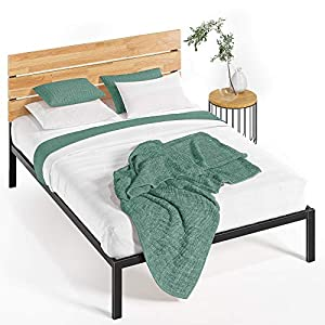 Zinus Paul Metal and Wood Platform Bed with Wood Slat Support, King,HBPBA-14K,Black