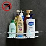 Gricol Bathroom Shower Shelf Triangle Wall Shower Caddy Space Aluminum Self Adhesive No Damage Wall Mount (White 98503W)
