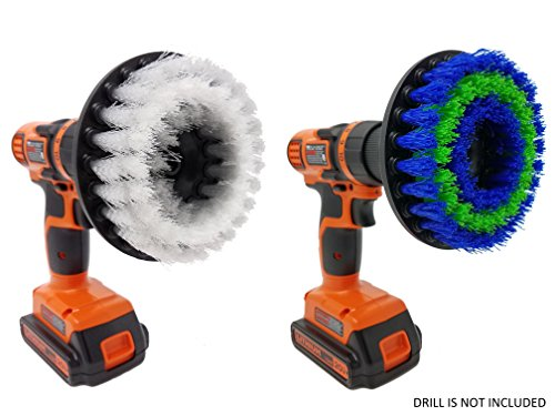 Drill Scrubbing Brush Attachment Set: Beast Brush Spin Power Scrubber For Fast And Easy Cleaning For All Surfaces, Soft & Medium Bristles For Bathroom Shower And Tub, Kitchen Tiles, Carpet, Cars Glass Electric Brush