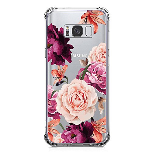 Galaxy S8 Case for Girls Women Clear with Flowers Design Shockproof Protective Case for Samsung Galaxy S8 5.8 Inch Cute Floral Pattern Print Flexible Soft Slim Fit Rubber Cell Phone Case Back Cover